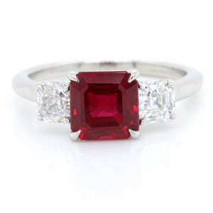 Platinum Emerald Cut Ruby and Diamond Ring