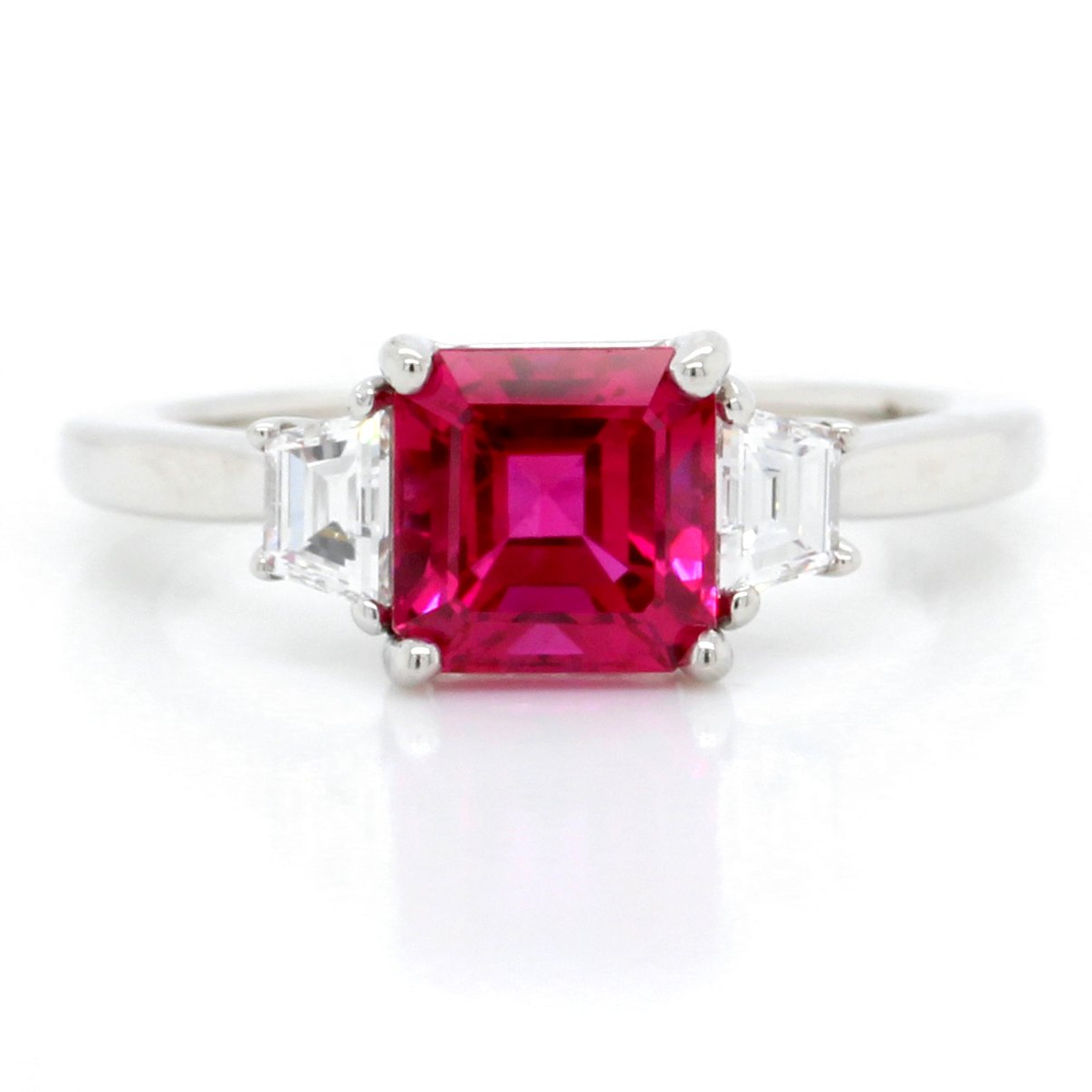 Platinum Three-Stone Emerald Cut Ruby and Diamond Ring