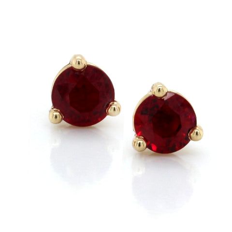 14K Yellow Gold Ruby Stud Earrings
