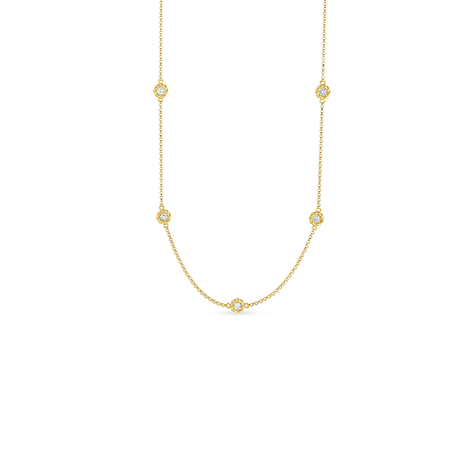 New Barocco 18K Yellow Gold Diamond Station Necklace