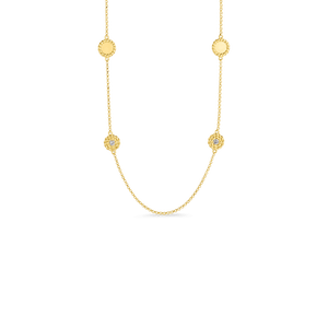 New Barocco 18K Yellow Gold Alternating Diamond Station Necklace