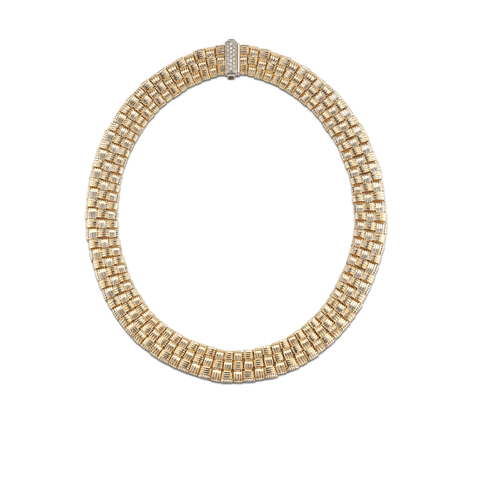 Appassionata 18K Yellow Gold Three Row Necklace with Diamond Clasp