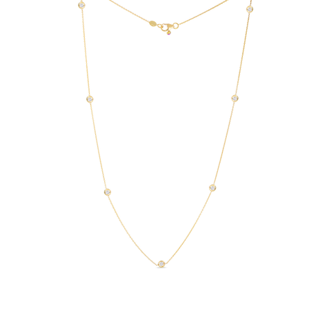18K Yellow Gold Seven Diamond Station Necklace