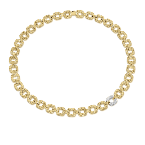 Pois Moi 18K Two-Tone Collar Necklace with Diamond Link