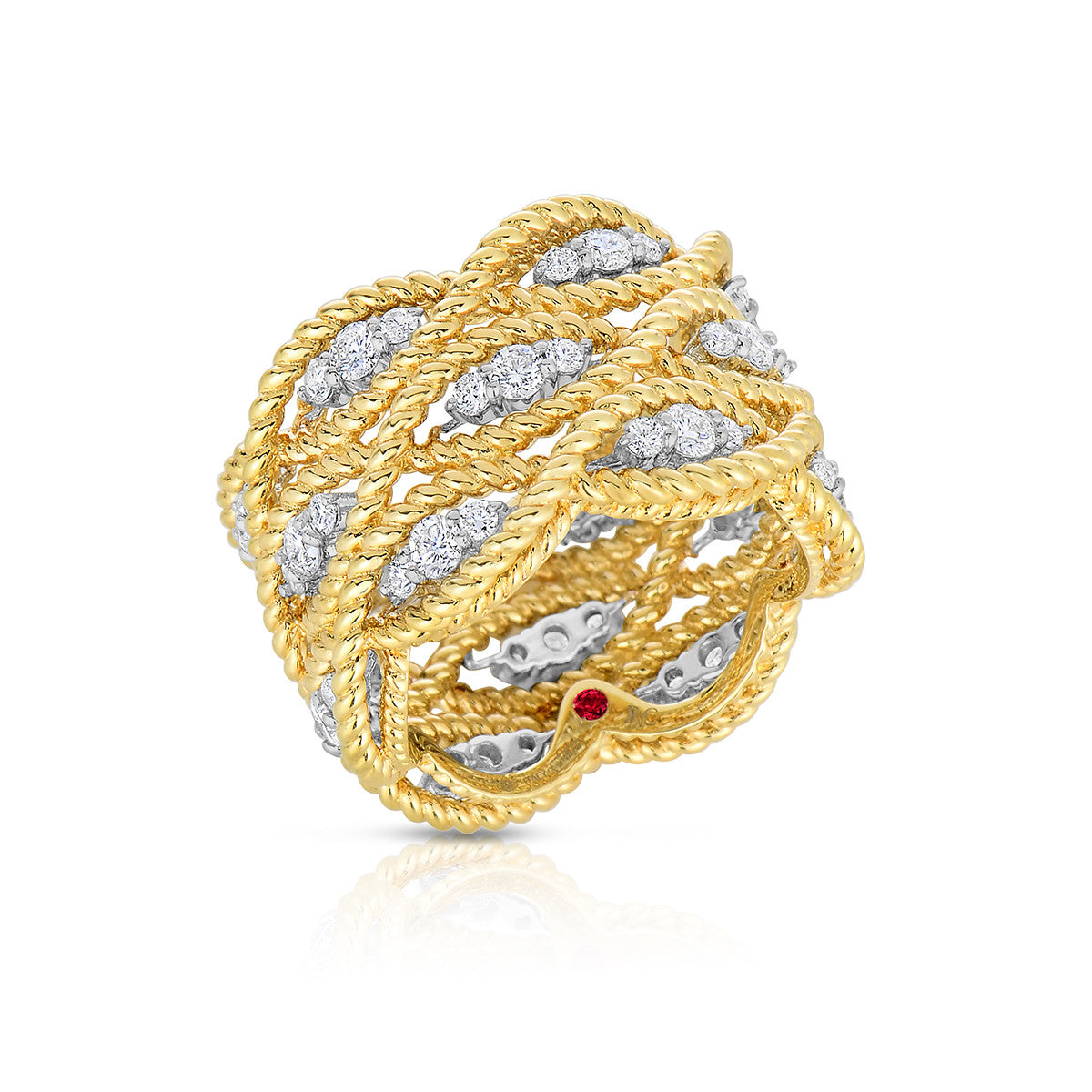 18K Yellow and White Gold Barocco 3 Row Diamond Ring