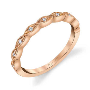 18K Rose Gold Twisted Milgrain Wedding Band