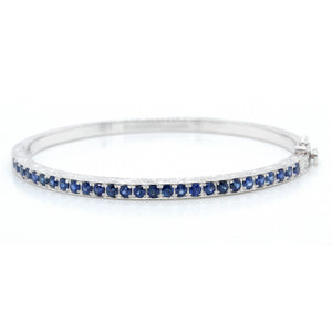 18K White Gold Blue Sapphire Bangle