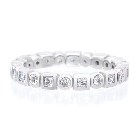 Platinum Alternating Round & Princess Cut Bezel Set Diamond Eternity Band