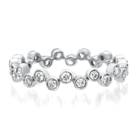 Platinum Modern Bubble Diamond Band