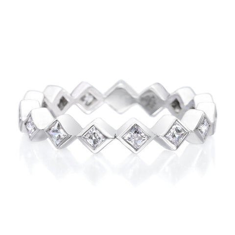 Platinum Bezel Set Princess Cut Diamond Eternity Band