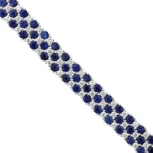 18K White Gold 3 Row Sapphire and Diamond Bracelet