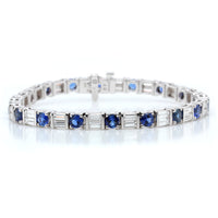18K White Gold Round Sapphire and Baguette Diamond Bracelet