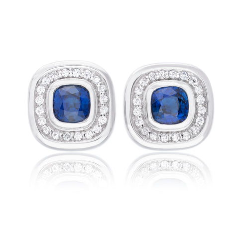18K White Gold Cushion Sapphire Bezel Diamond Earrings