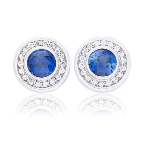 18K White Gold Round Sapphire Bezel Set Diamond Earrings