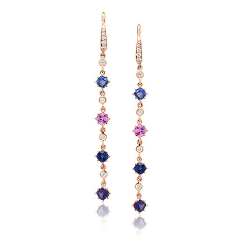18K Rose Gold Rainbow Sapphire Diamond Dangle Earrings