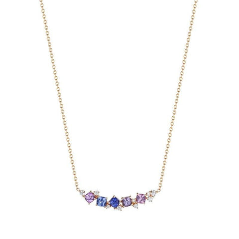 18K Rose Gold Diamond and Sapphire Cluster Necklace