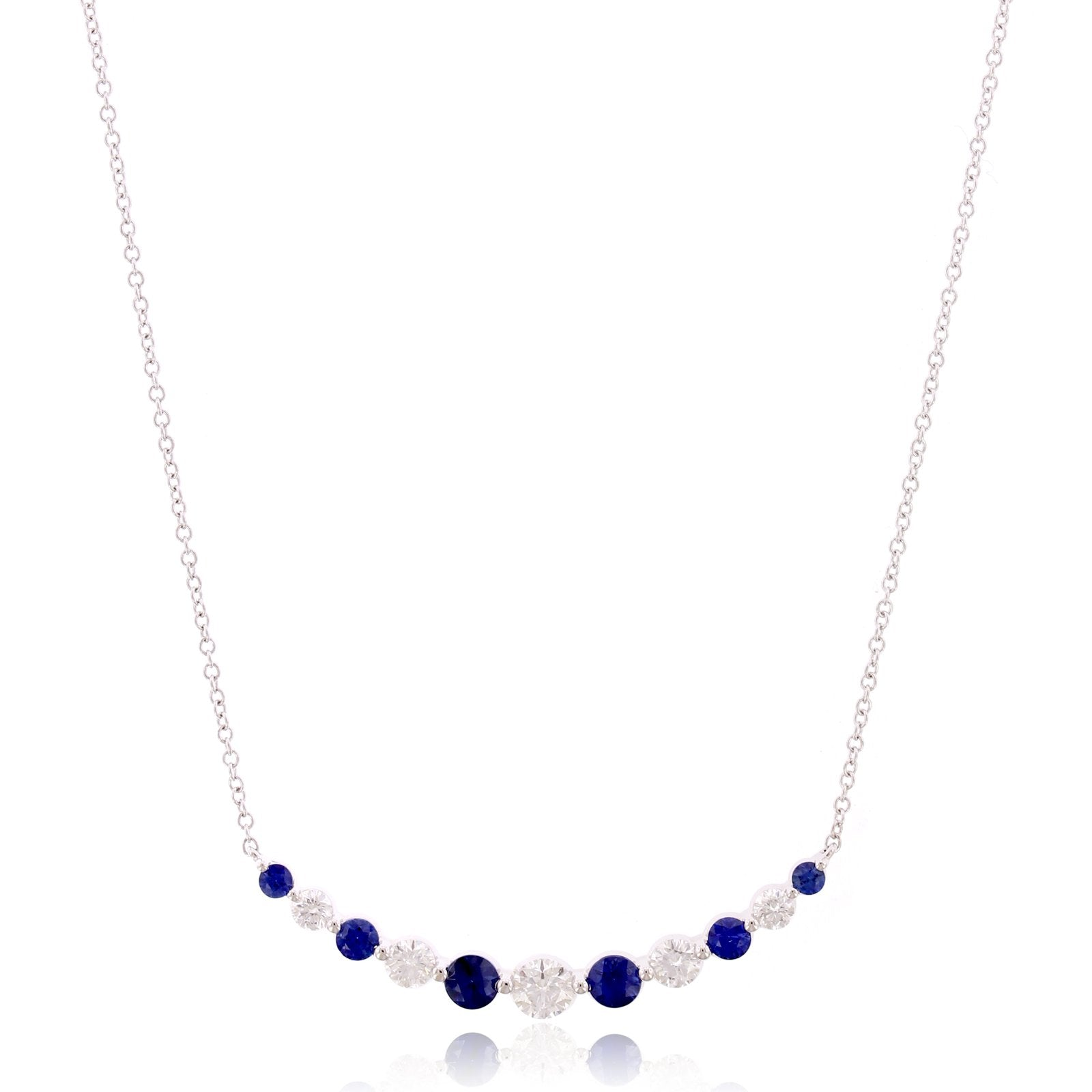 18K White Gold Diamond and Sapphire Curve Necklace