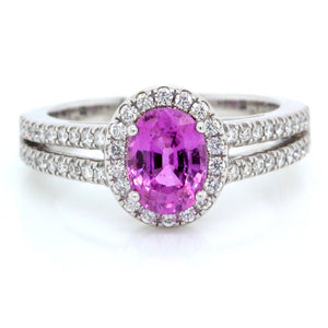 18K White Gold Oval Purple Sapphire and Diamond Ring
