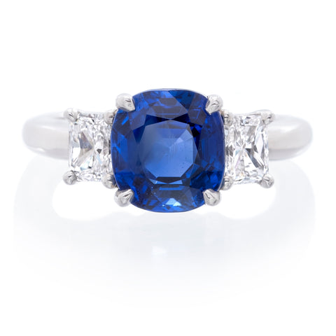 Platinum Three-Stone Cushion Cut Sapphire and Diamond Ring