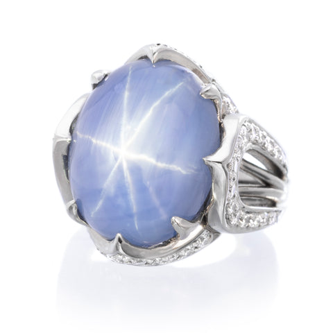 Platinum Oval Cabochon Star Sapphire and Diamond Ring