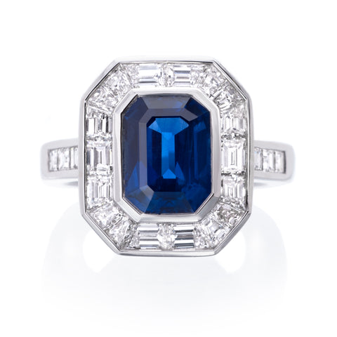 Platinum Emerald Cut Sapphire Halo Diamond Ring