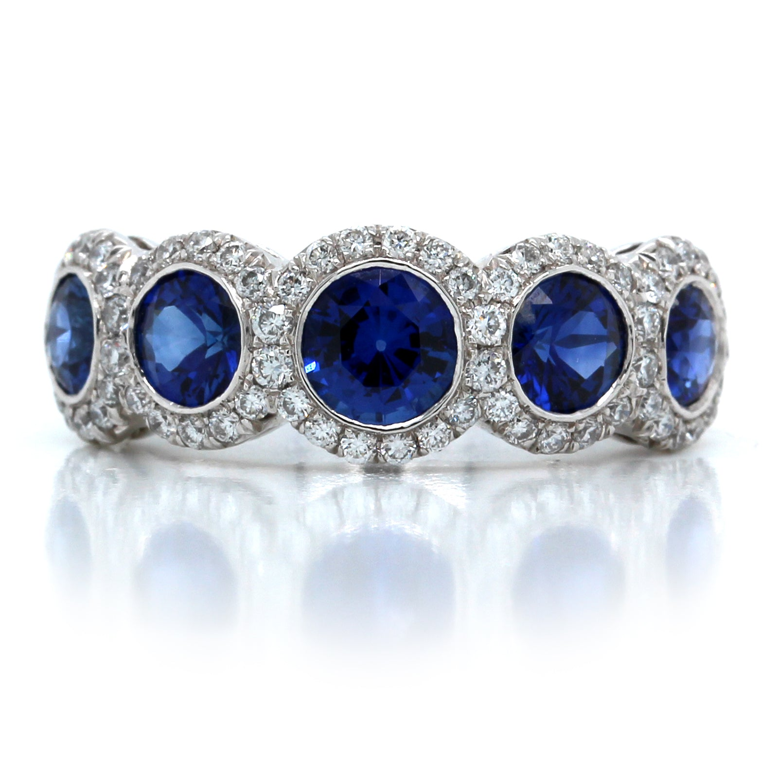 Platinum 5 Stone Sapphire and Diamond Band