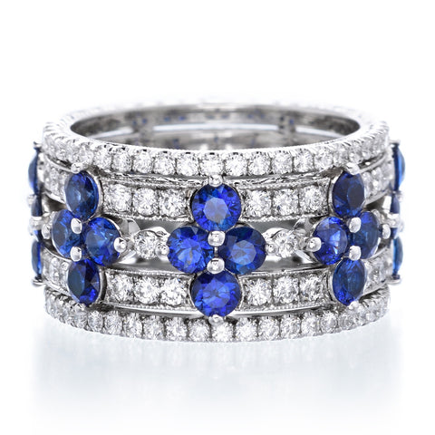 Platinum Five Row Sapphire & Diamond Band