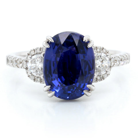 18K White Gold Three-Stone Sapphire and Diamond Ring