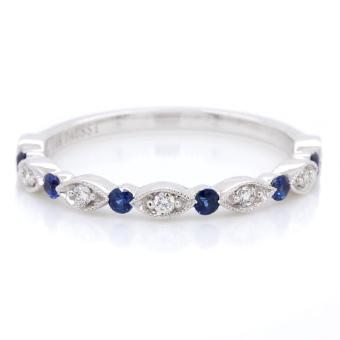 14K White Gold Diamond and Sapphire Stackable Band