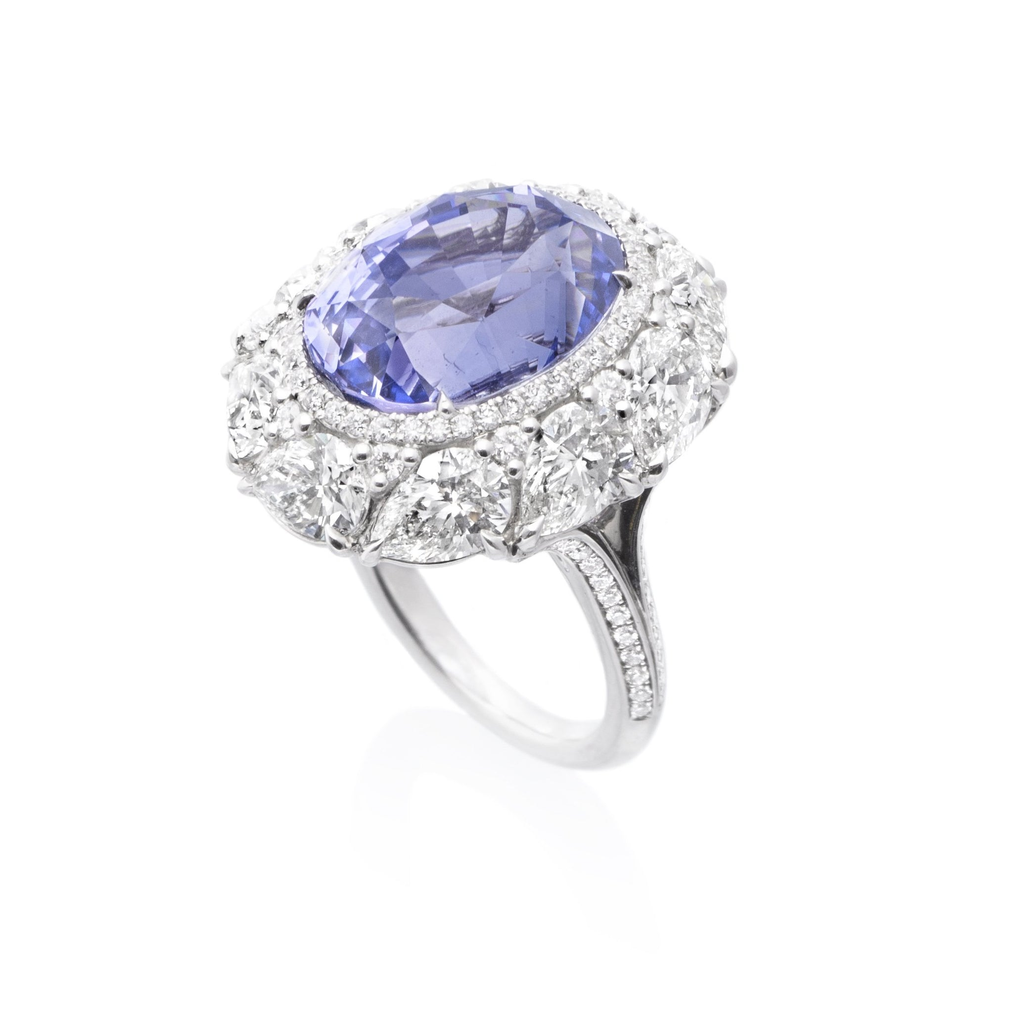 Platinum Purple Sapphire Diamond Halo Ring