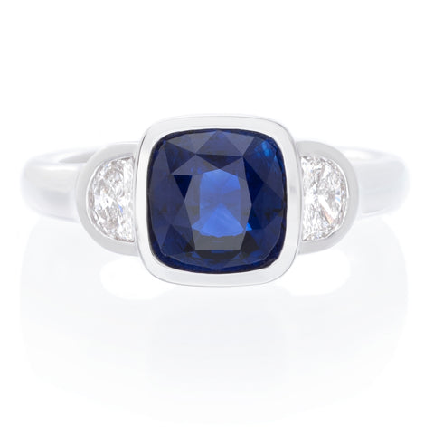 18K White Gold Bezel Sapphire Ring with Half Moon Diamonds