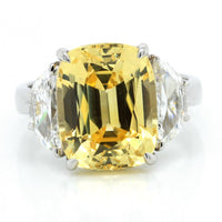 Platinum Cushion Cut Yellow Sapphire Ring