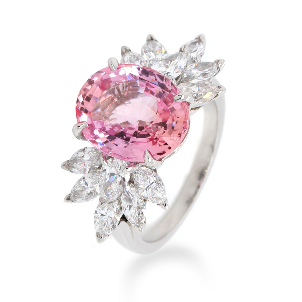 Platinum Oval Pink Sapphire and Diamond Ring (One-Of-A-Kind Collection)