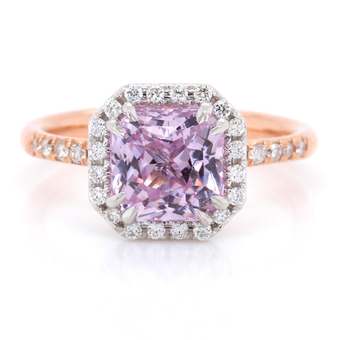 18K Rose Gold and White Gold Pink Sapphire Diamond Ring
