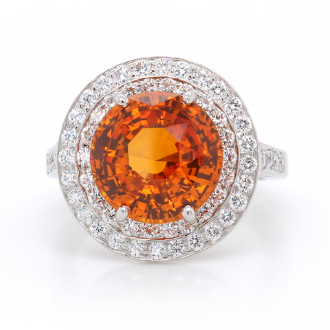 Platinum Orange Sapphire and Diamond Ring (One-Of-A-Kind Collection)
