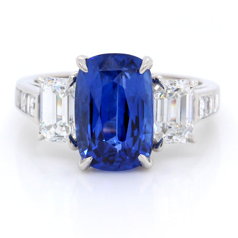 Platinum Cushion Sapphire and Diamond Ring (One-Of-A-Kind Collection)