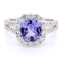 18K White Gold Purple Cushion Sapphire and Diamond Ring