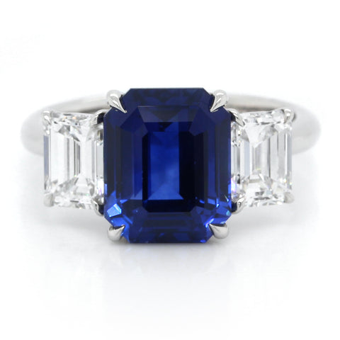 Platinum Three-Stone Emerald Cut Sapphire and Diamond Ring