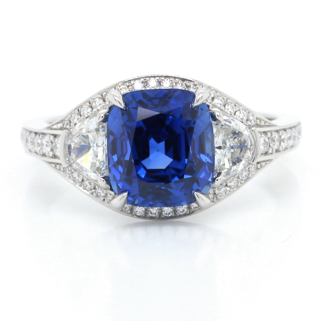 Platinum Cushion Cut Sapphire and Diamond Moon Ring