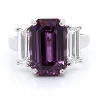 Platinum Emerald Cut Purple Sapphire and Diamond Ring