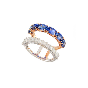 18K Rose Gold Sapphire an Diamond Ring