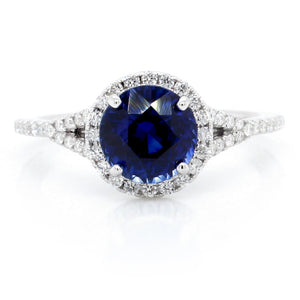 18K White Gold Round Sapphire and Diamond Halo Ring