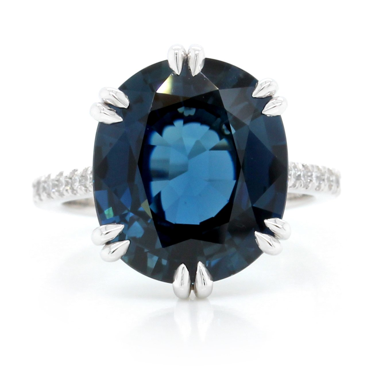Platinum Oval Blue Sapphire and Diamond Ring