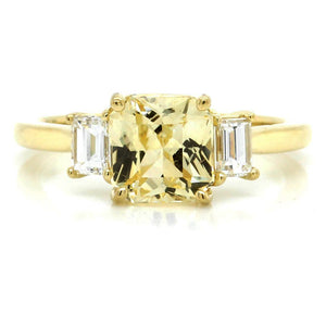 18K Yellow Gold Three-Stone Yellow Sapphire and Diamond Ring