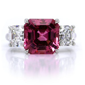 Platinum Pink Sapphire Ring with Asscher Cut Diamonds