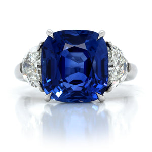 Platinum Cushion Cut Sapphire Ring with Half Moon Diamonds