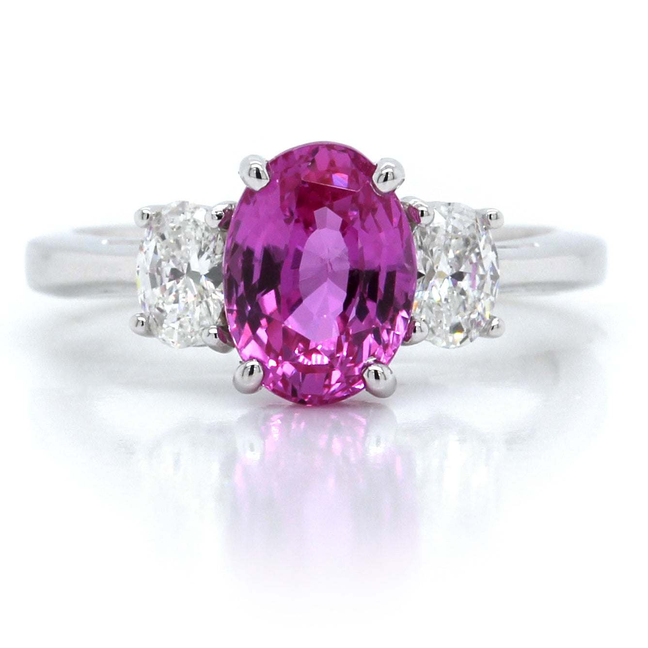 Platinum Oval Pink Sapphire with Diamond Ring