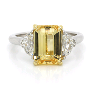 Platinum Yellow Sapphire and Diamond Ring