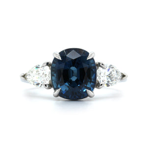 Platinum Cushion Sapphire and Diamond Ring