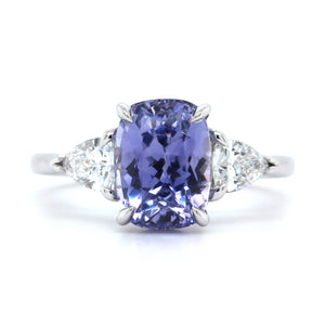 Platinum Lilac Sapphire and Diamond Ring
